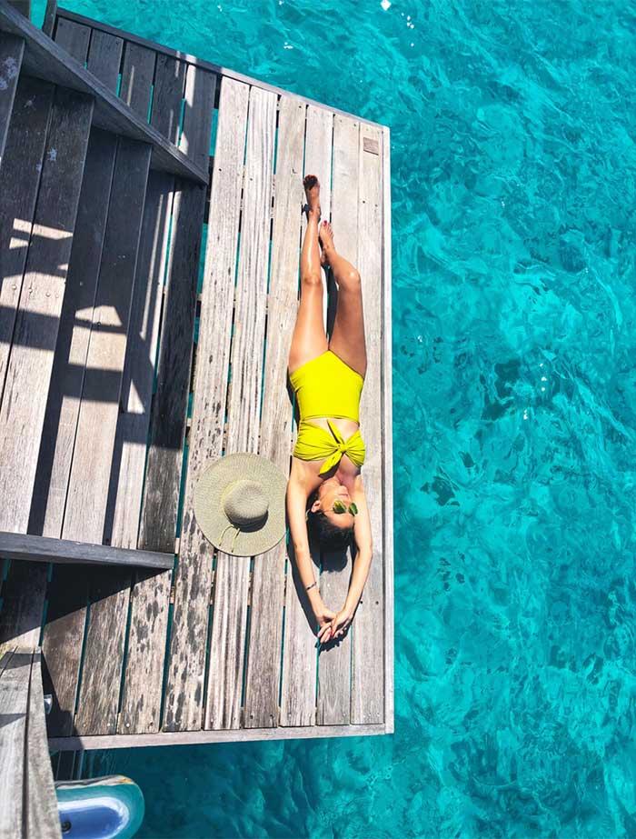 Sun bathing on the deck