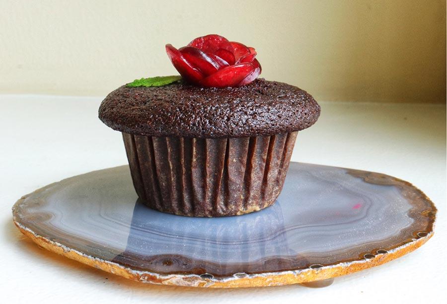 Gluten free, dairy free cupcake with cherry