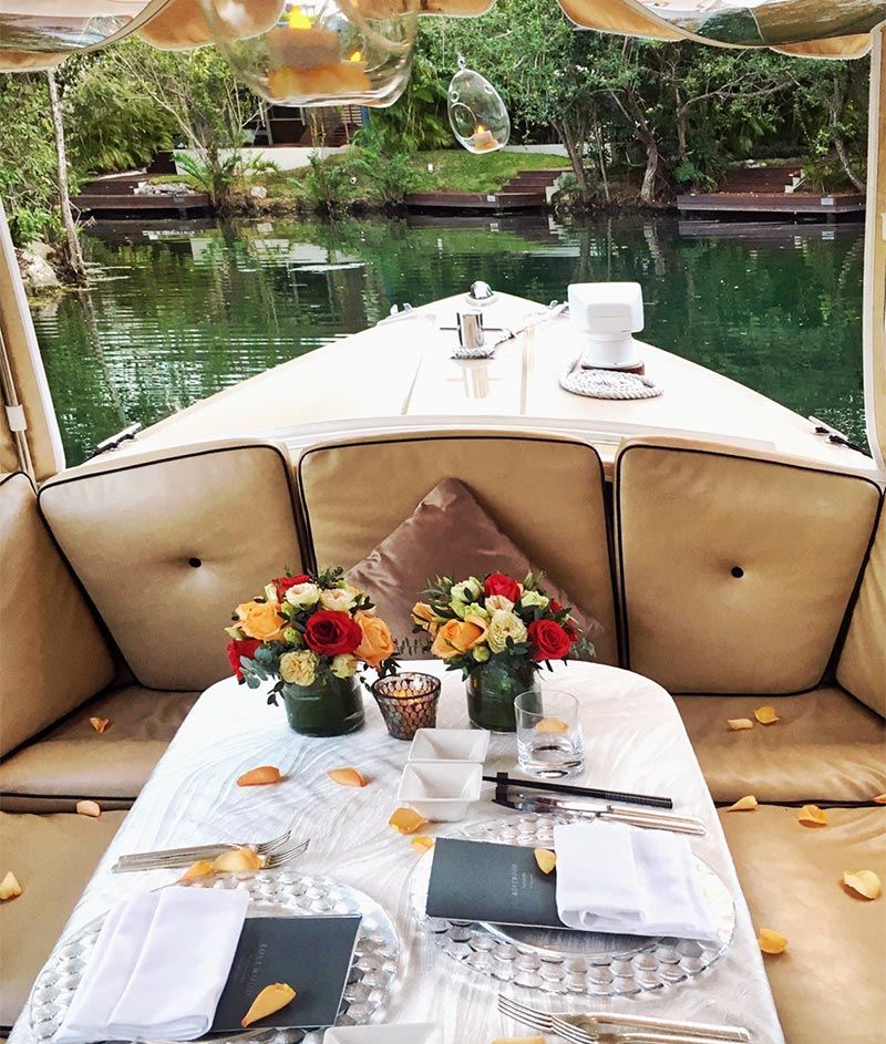 Dinner celebration on the boat, Rosewood Mayakoba