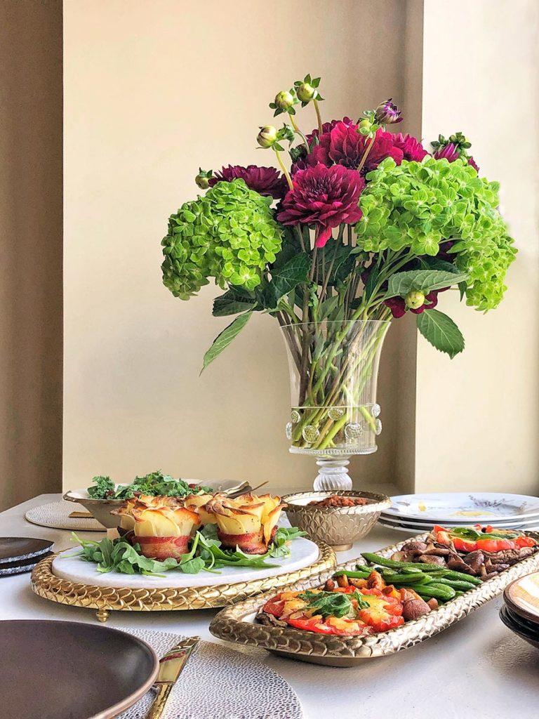 Bacon & Potato roses, sautéed vegetables, Spring Salad